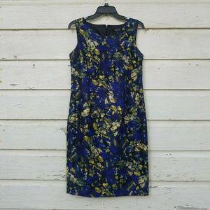 Kasper Royal Blue Yellow Abstract Sheath Dress